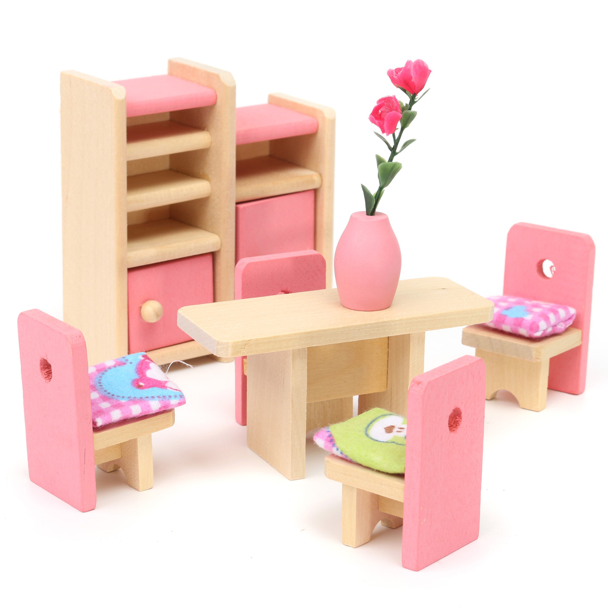 Wooden Furniture 6 Room Set Dolls House Family Miniature Kids