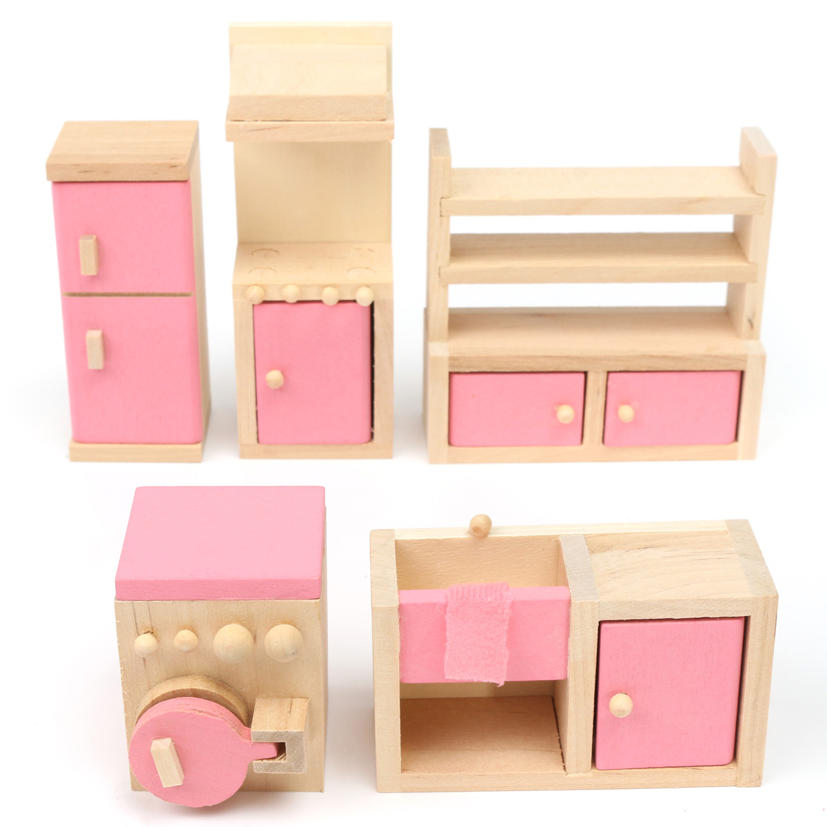 Wooden Furniture Room Set Dolls House Family Miniature For Kids Children Toy Ebay