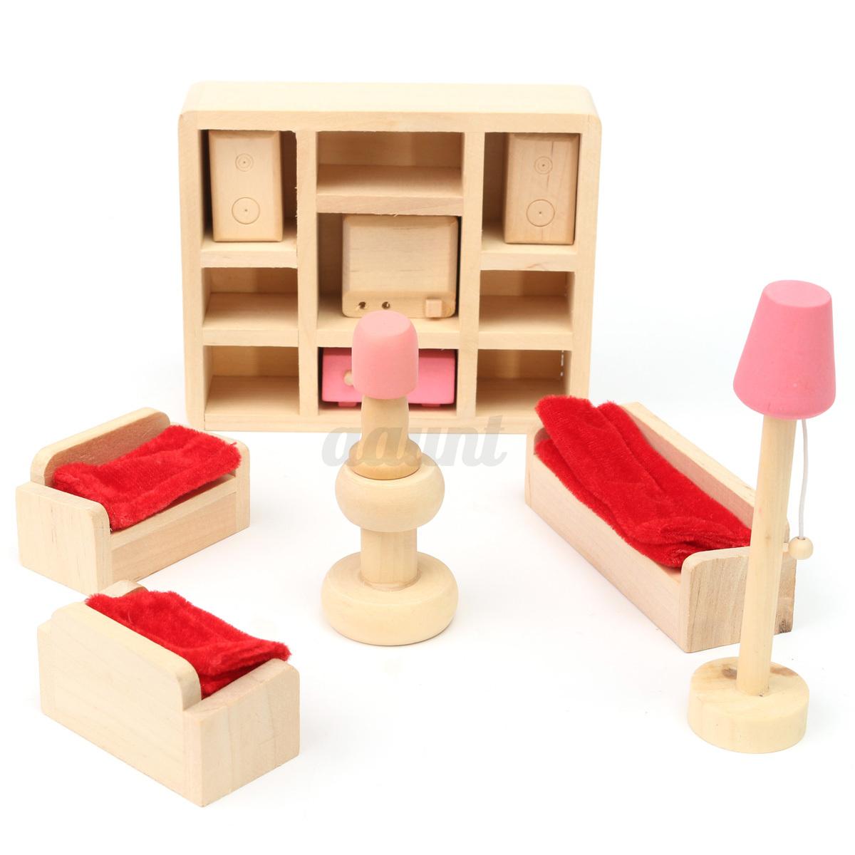 Miniature House Family Children Wooden Furniture Doll Set