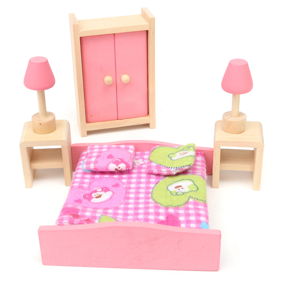 Wooden furniture room set dolls house family miniature for kids children toy ebay Dolls wooden furniture