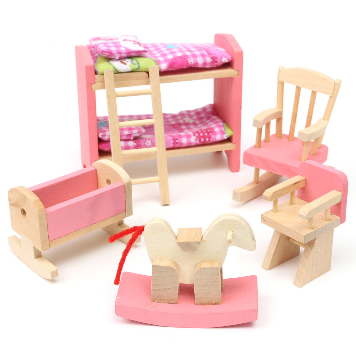 Wooden Furniture Room Set Dolls House Family Miniature For