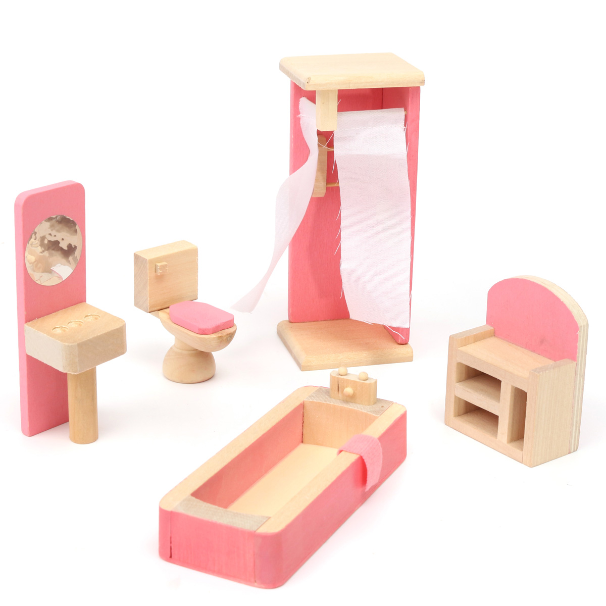 8e7250d9 Details about Wooden Furniture 6 Room Set Dolls House Family Miniature Kids  Children Play Toy