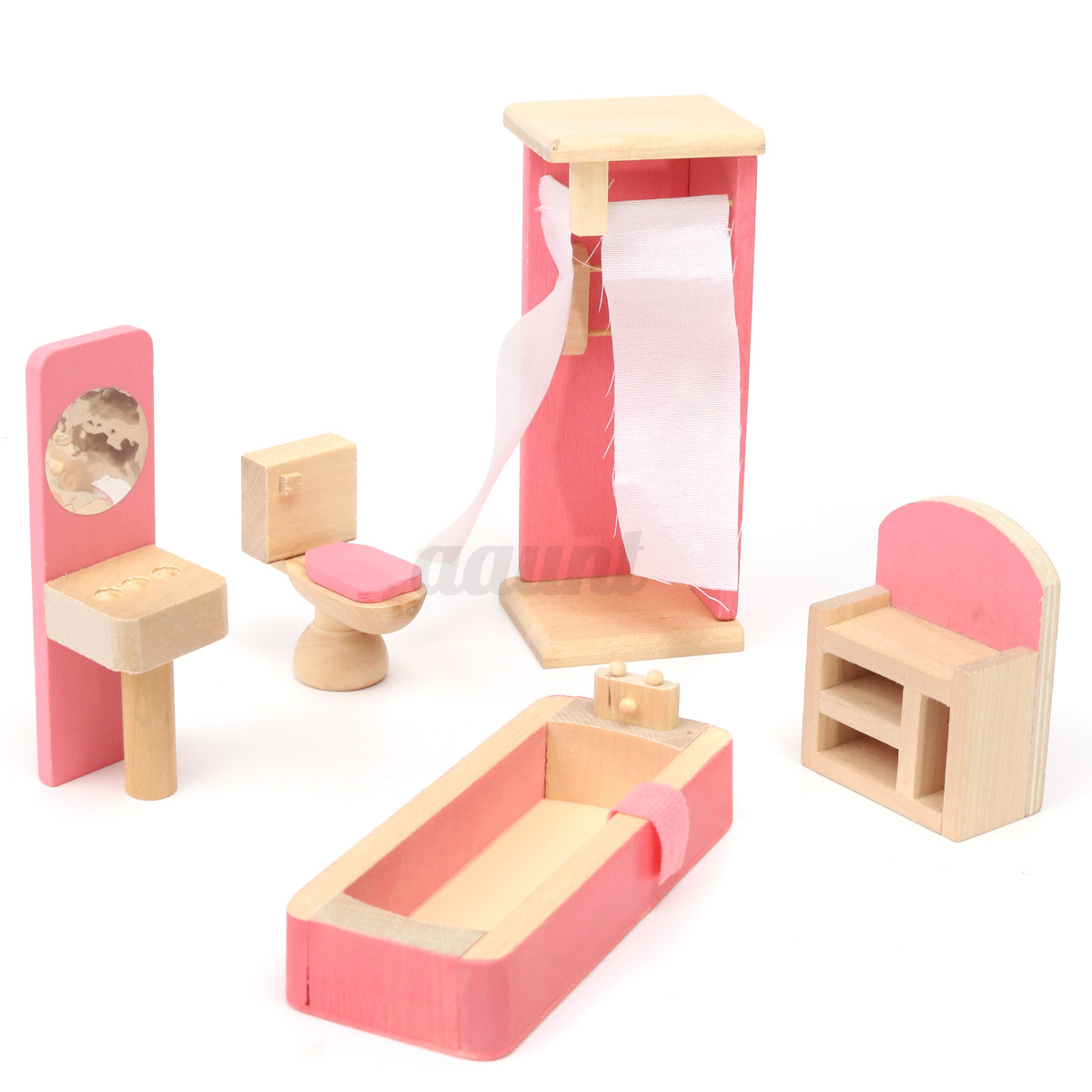 miniature house family children wooden furniture doll set kit toys accessories ebay. Black Bedroom Furniture Sets. Home Design Ideas