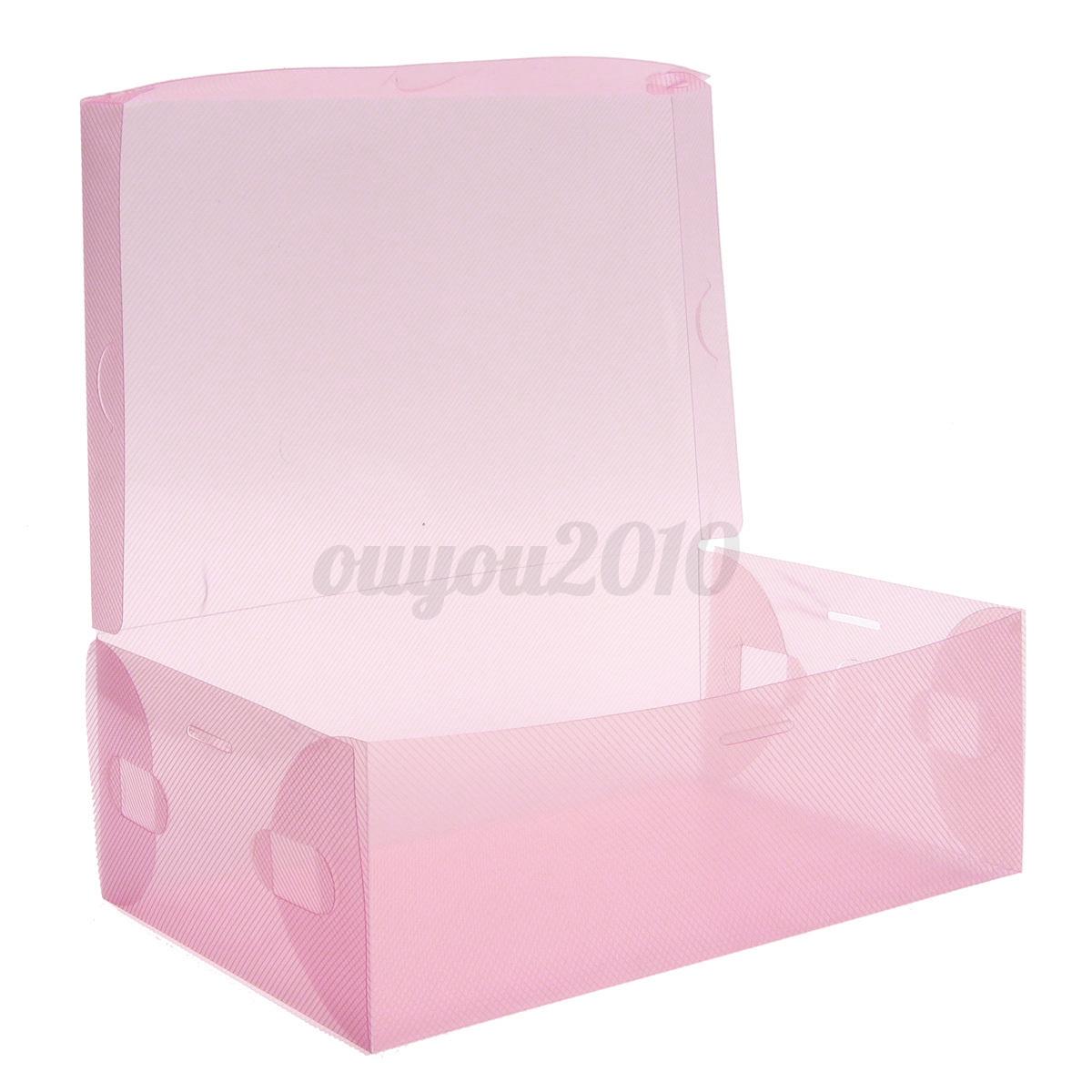 foldable clear plastic shoe storage boxes organizer stackable transparent case ebay. Black Bedroom Furniture Sets. Home Design Ideas