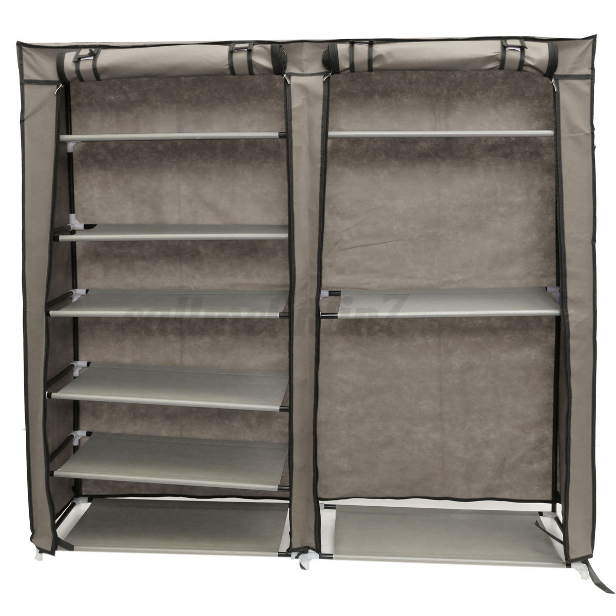 7-Tier-2-Rows-Doors-Large-Shoe-Cabinet-  sc 1 st  eBay & 7-Tier 2 Rows Doors Large Shoe Cabinet Rack Shoes Stand Storage ...