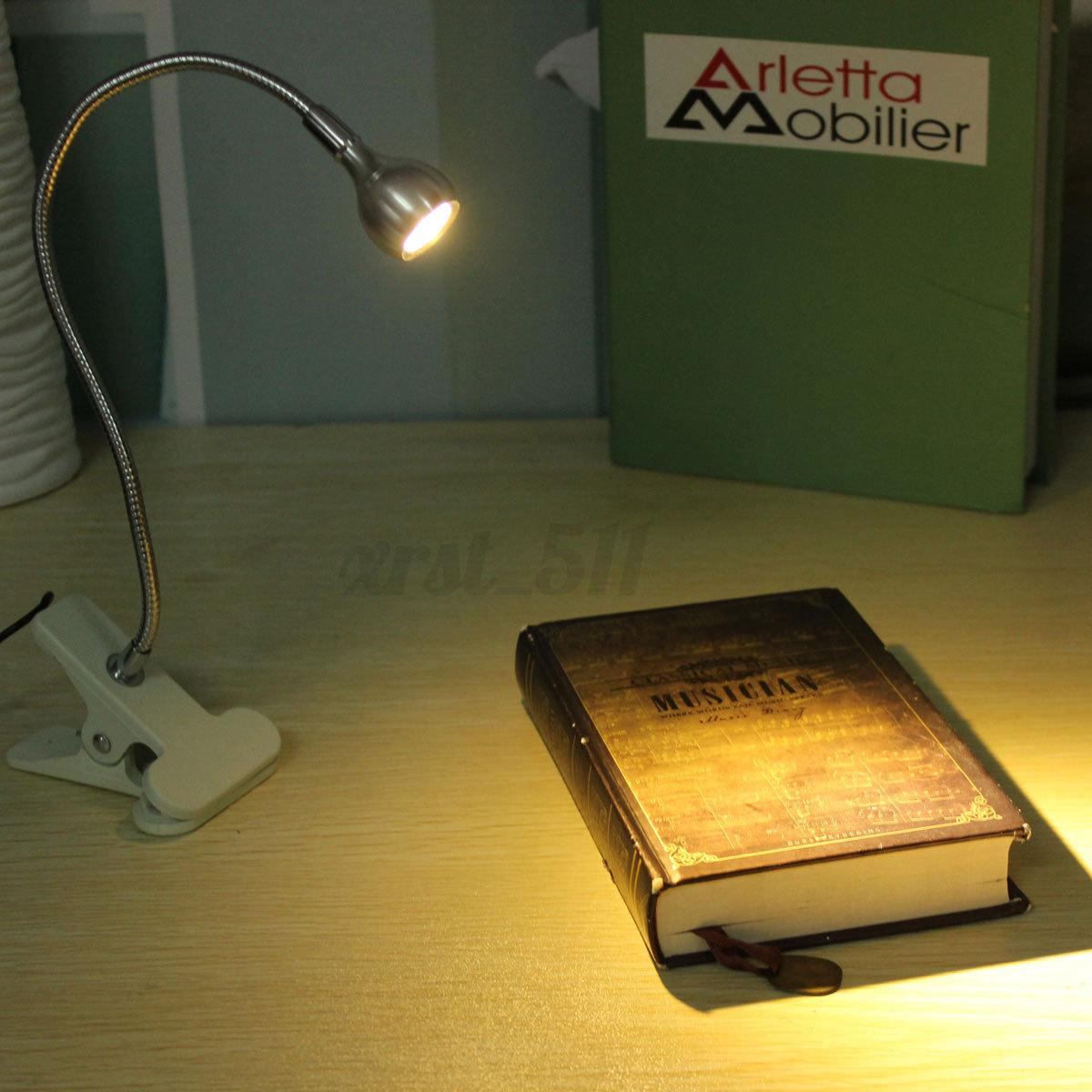 flexible led reading light clip on beside bed table desk. Black Bedroom Furniture Sets. Home Design Ideas