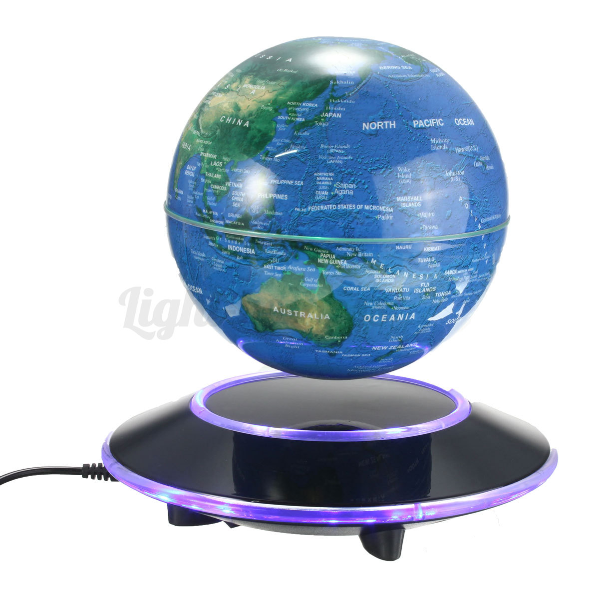 l vitation magn tique globe terrestre flottant 6 39 39 led. Black Bedroom Furniture Sets. Home Design Ideas