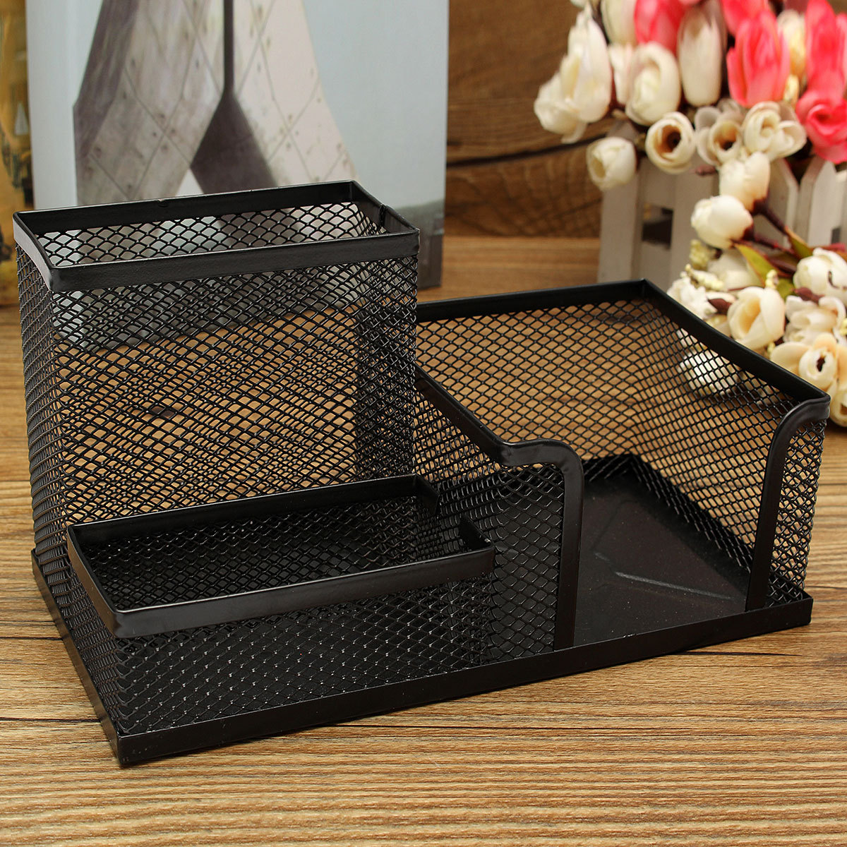 Pencil Tray Mesh Pen Holder Stationery Container Storage