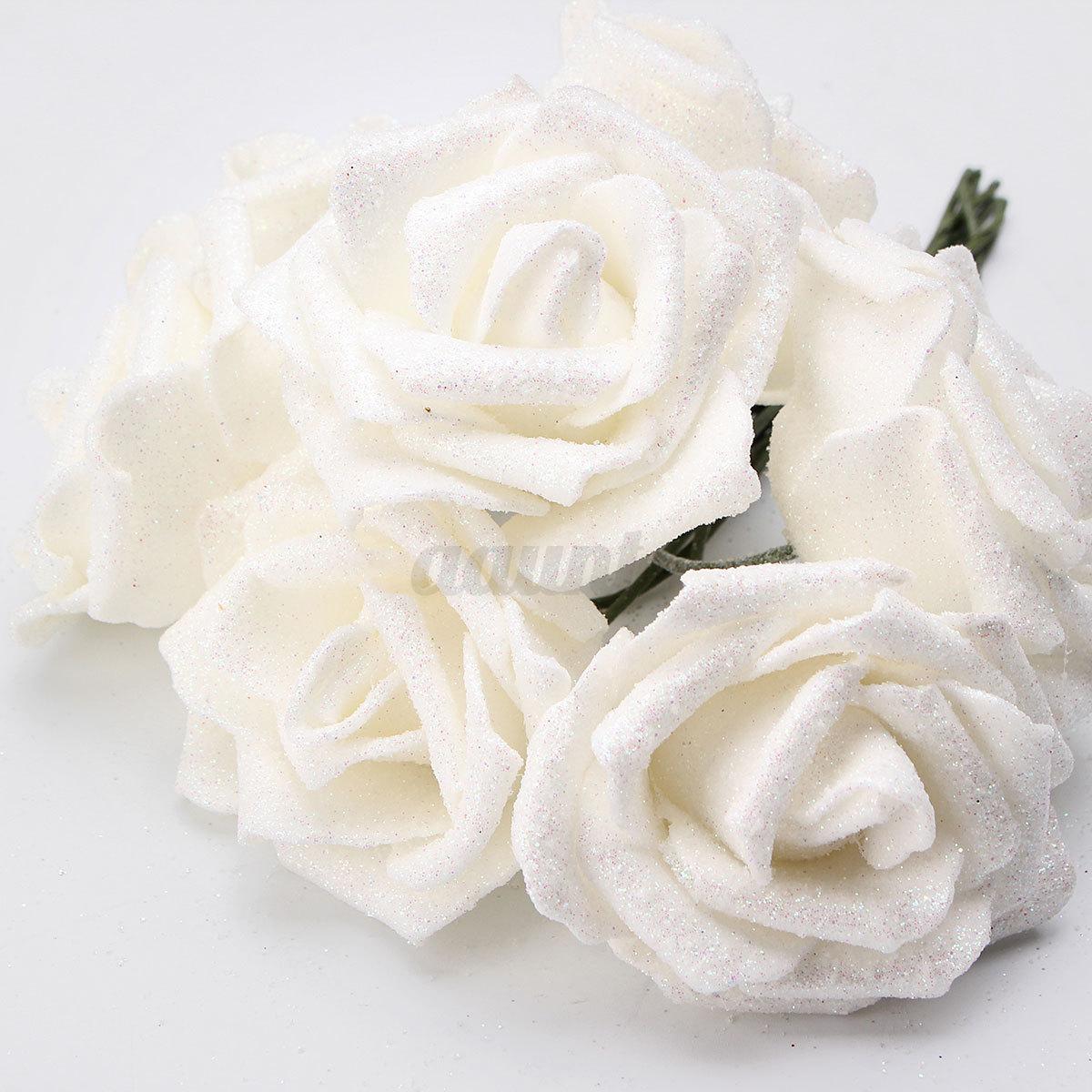 7pcs glitter foam rose artificial flowers wedding bride bouquet 7pcs glitter foam rose artificial flowers wedding bride izmirmasajfo