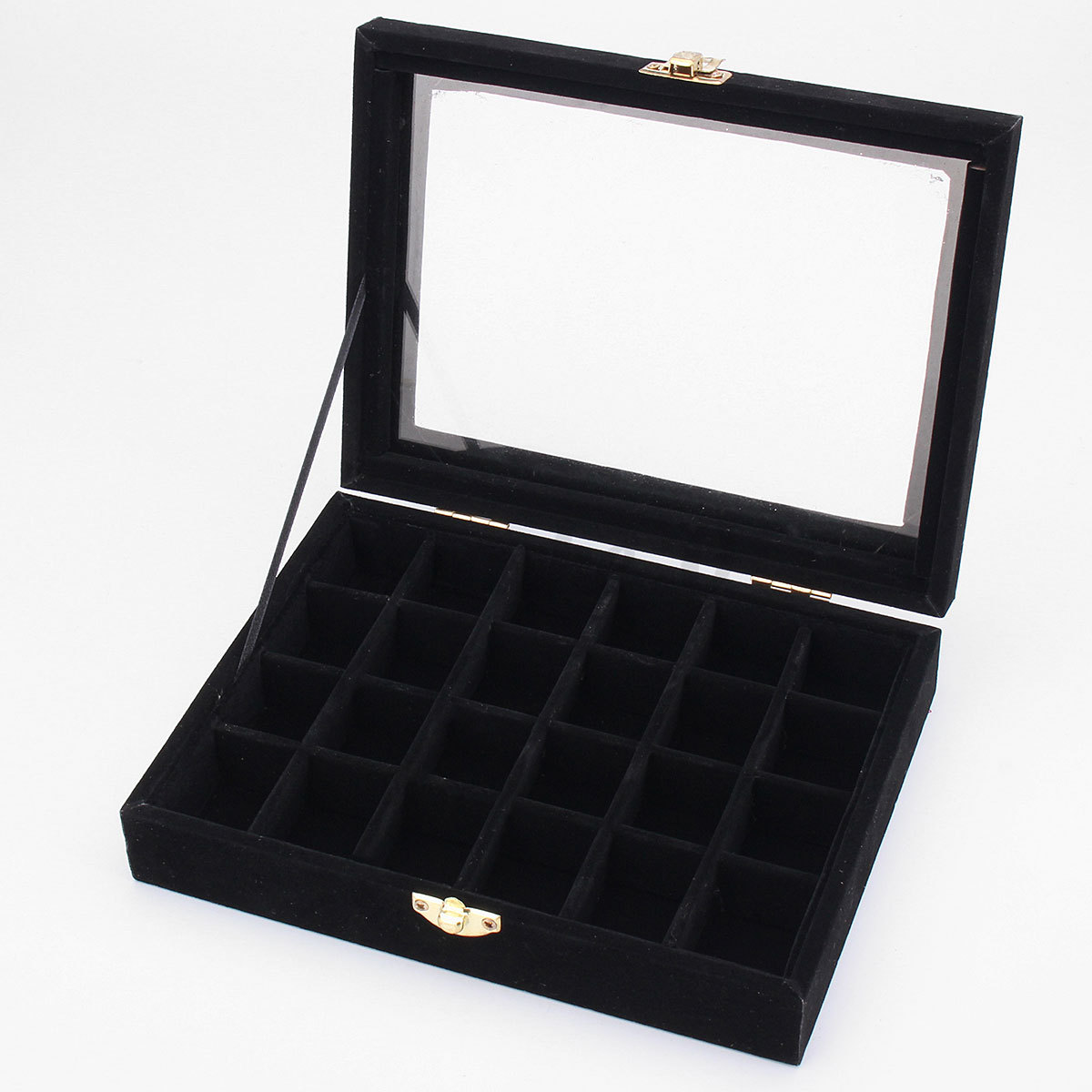 Glass jewelry ring display organizer velvet box tray for Ring case