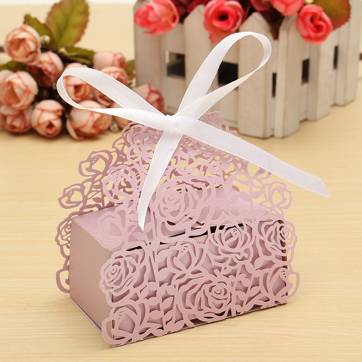 12/24/60x Ribbon Rose Laser Cut Sweet Cake Candy Gift Boxes Wedding ...