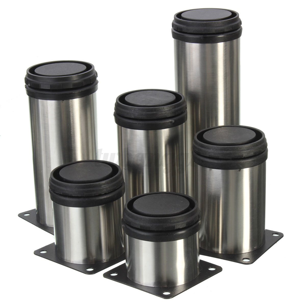 4x Adjustable Cabinet Plinth Legs Stainless Steel Kitchen Round Feet W Screws Us Ebay