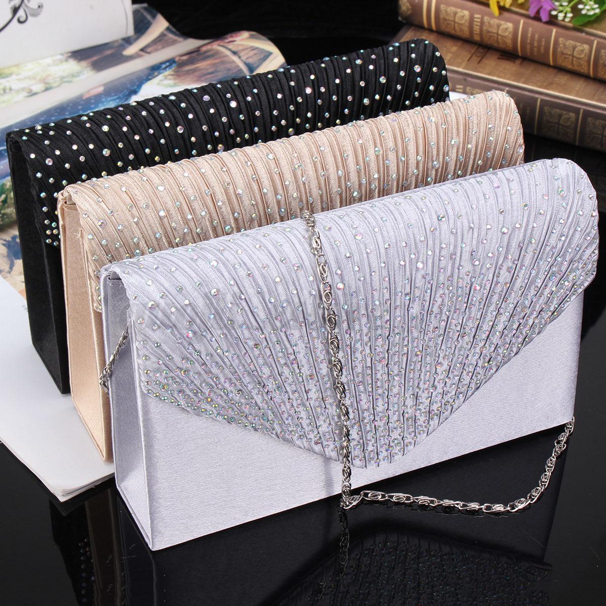 US-Women-Evening-Bag-Satin-Bridal-Clutch-Party-Envelope-Bag-Handbag-Small-Purse