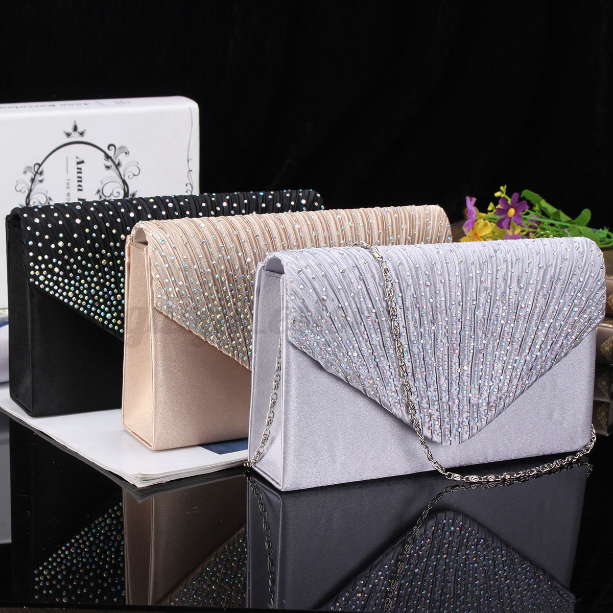 US-Women-Evening-Bag-Satin-Bridal-Clutch-Party-Envelope-Bag-Handbag-Small-Purse thumbnail 2