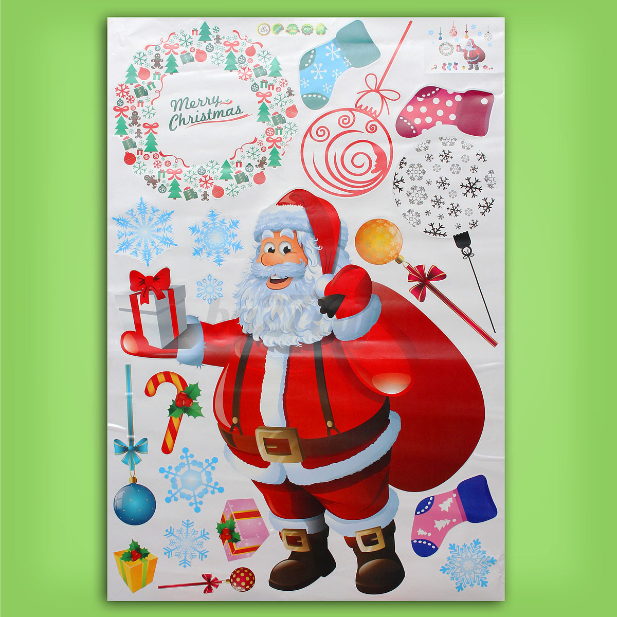 Large christmas tree wall stickers window decal mural for Christmas wall mural