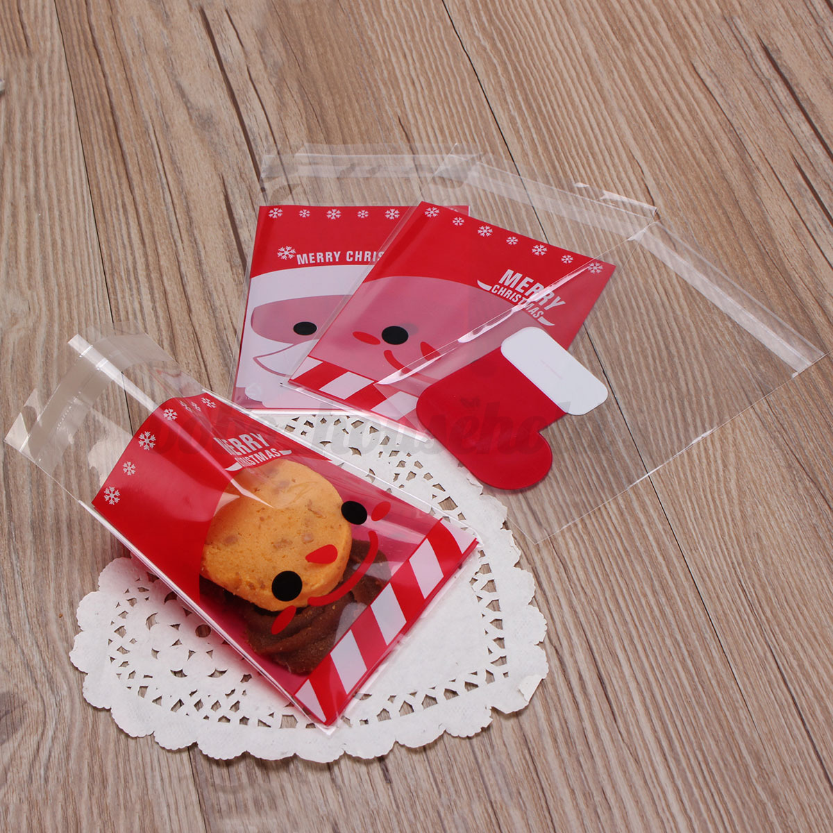 Pcs christmas cookie bags stocking santa candy sweet