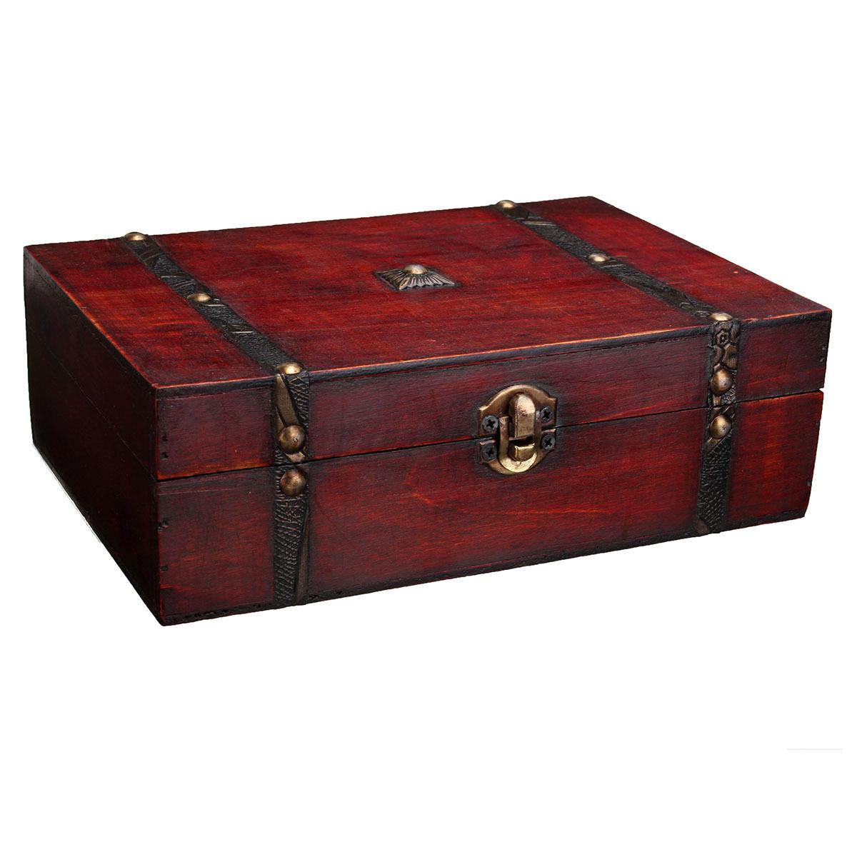 Au Wooden Jewelry Box Necklace Bracelet Storage Pirate
