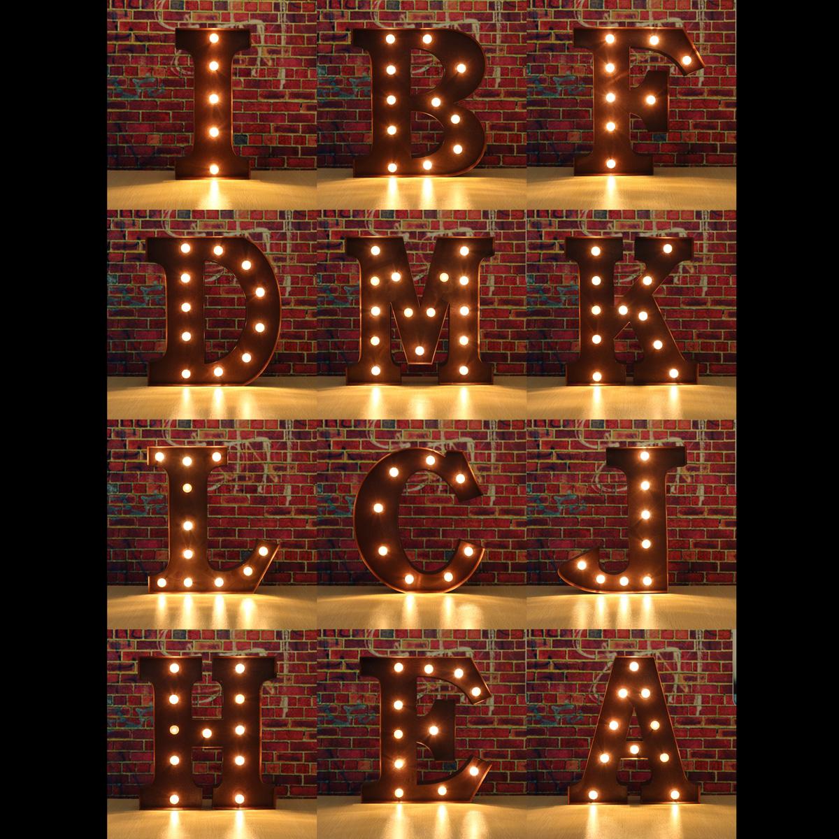 LUZ-LED-Letra-Alfabeto-Carnaval-Vintage-Circo-Luz-Metal-Carpa-A-X-Letras-Luces