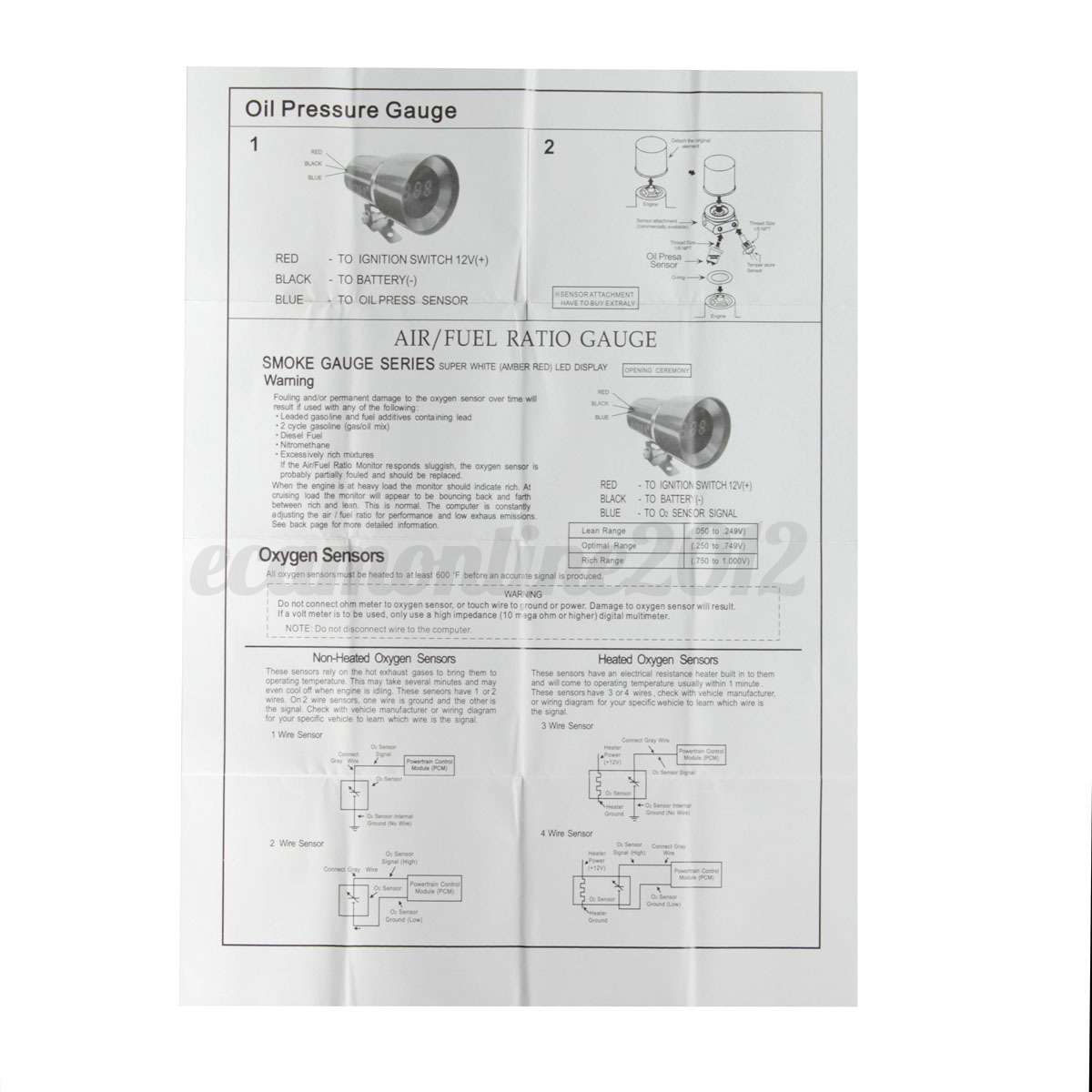 37mm Car Led Oil Press Pressure Gauge Meter Pointer Sensor Digital 3 Wire O2 Wiring Diagram Detail Image