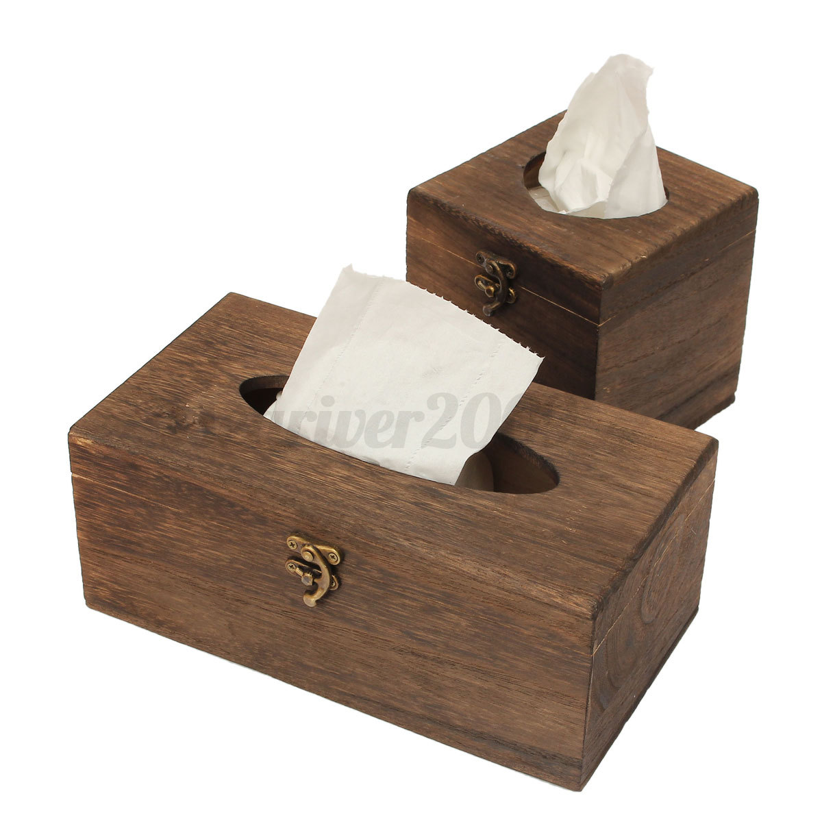 Wood Pu Leather Tissue Box Paper Holder Case Napkin Cover