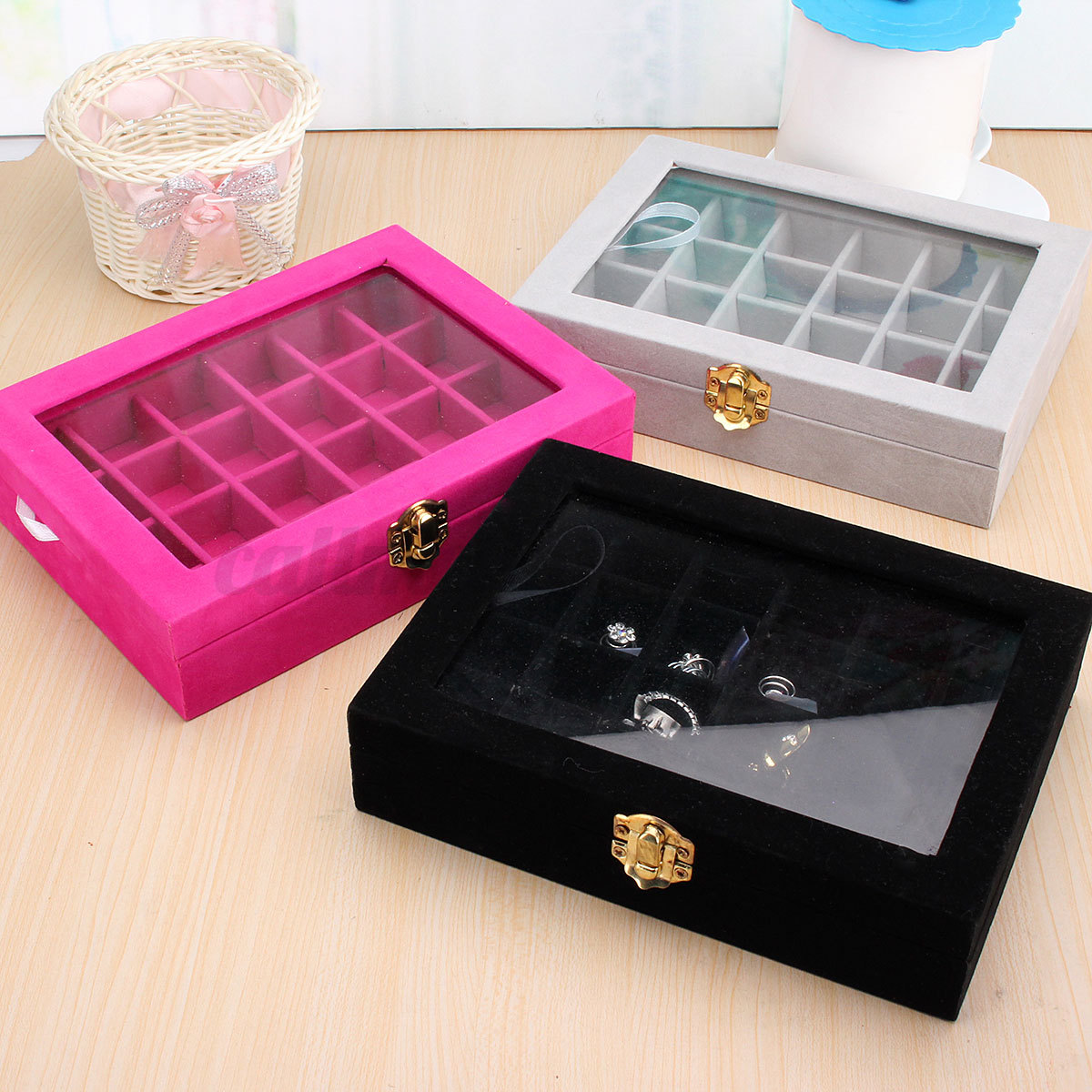 Uk Velvet Glass Jewelry Ring Display Organizer Case Holder