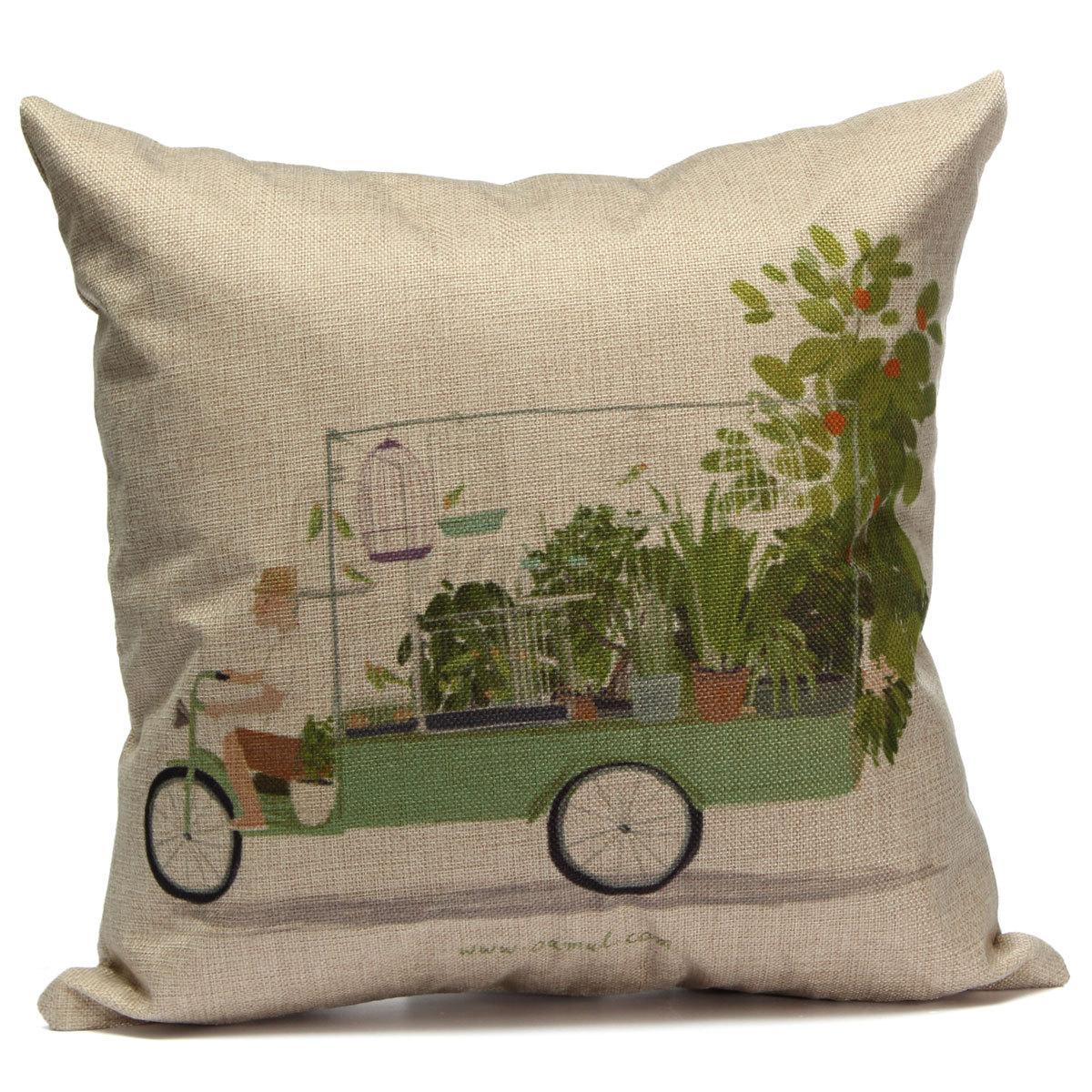 Vintage Square Linen Cotton Throw Pillow Case Cushion Cover Home Sofa Car Decor eBay