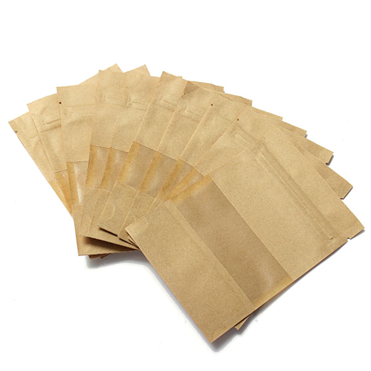 Leak Sealing Kraft Bag : Pcs stand up kraft paper zip lock bag window