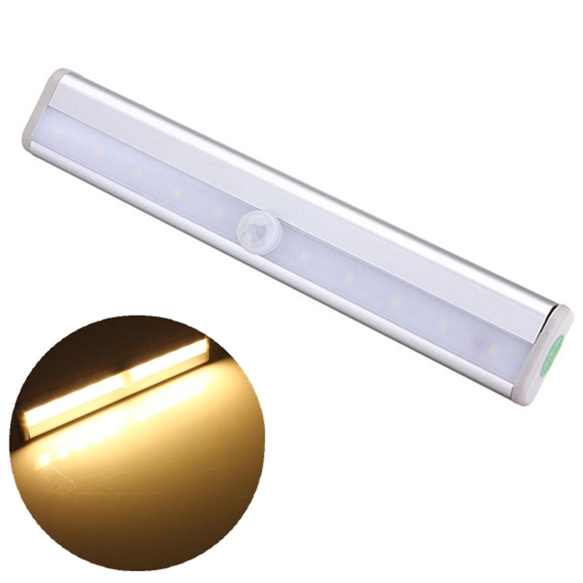 10 LED PIR Motion Sensor Under Cabinet Strip Light Bar