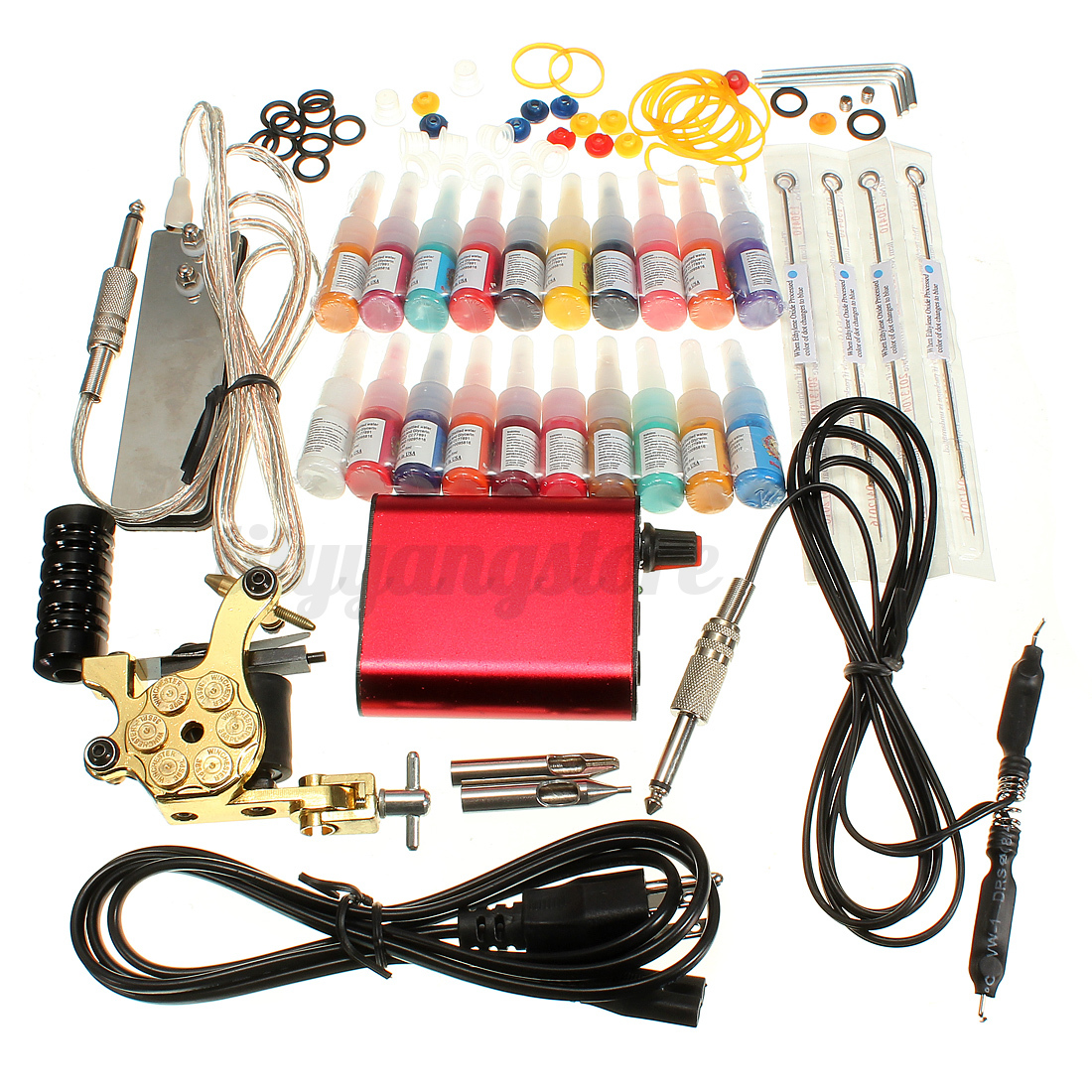 Complete tattoo kit tattoo machine guns set ink needles for Supplies for tattooing