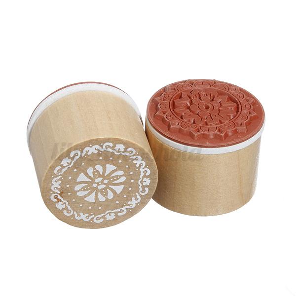 6 tlg Set Mini Blumen Holzstempel mit Floral Muster Motivstempel Stempel Gummi