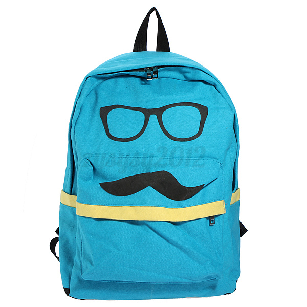 Canvas-Boys-Girls-Mustache-School-Shoulders-Bag-College-Rucksack-Backpack-UK