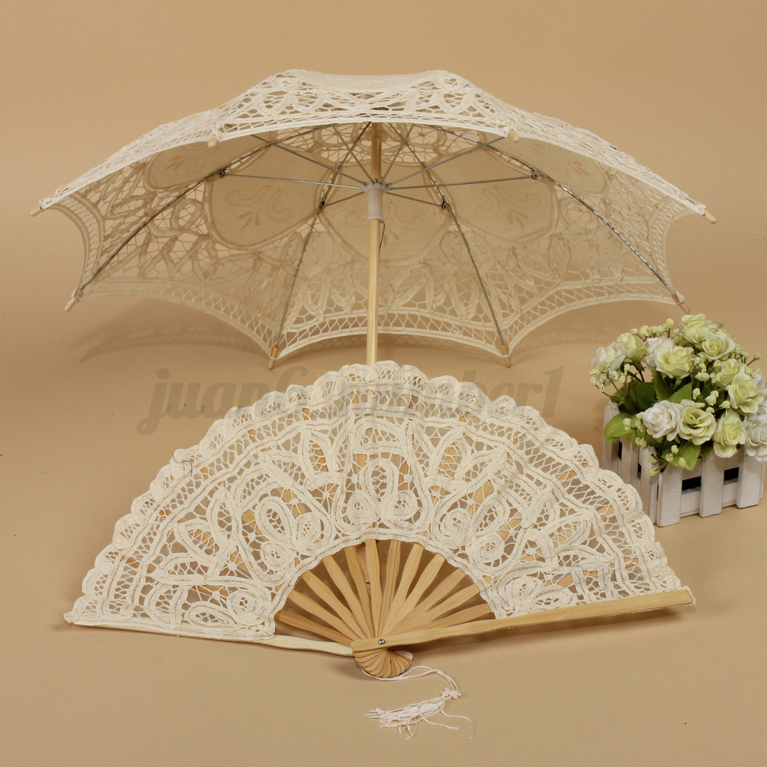 Handmade-Cotton-Lace-Parasol-Umbrella-Hand-Fan-For-Bridal-Wedding-Bridal-Party