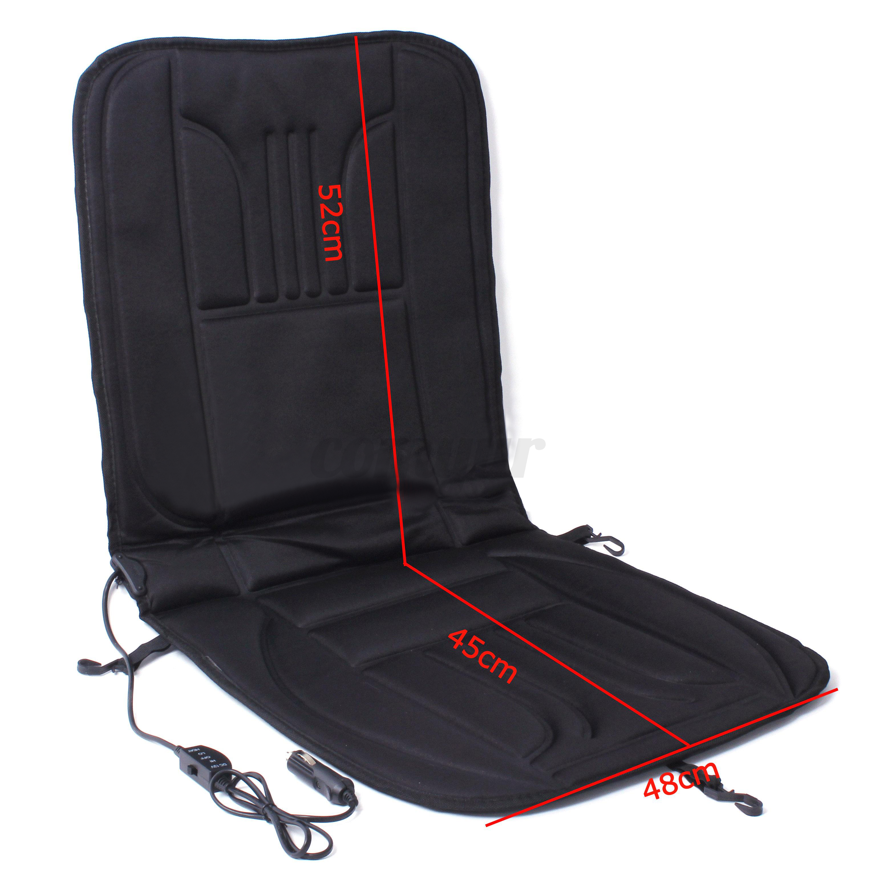 12V Seat Massage Cushion Heated Pad Seat Cover Winter Warmer Car For VW BMW A