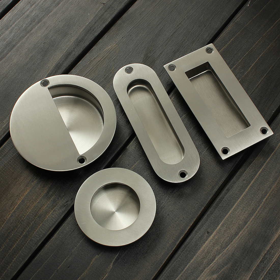 Stainless Steel Door Handle Flush Recessed Pull Satin Circular Oval ...