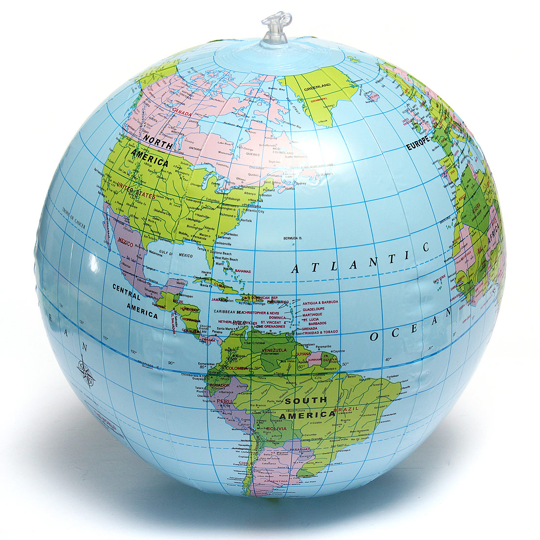 Pvc inflatable blow up world globe 38cm earth atlas ball map detail image gumiabroncs Image collections