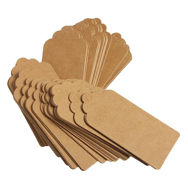 100pcs-Kraft-Paper-Gift-Tags-Wedding-Birthday-Scallop-Label-Blank-Luggage-Card thumbnail 6