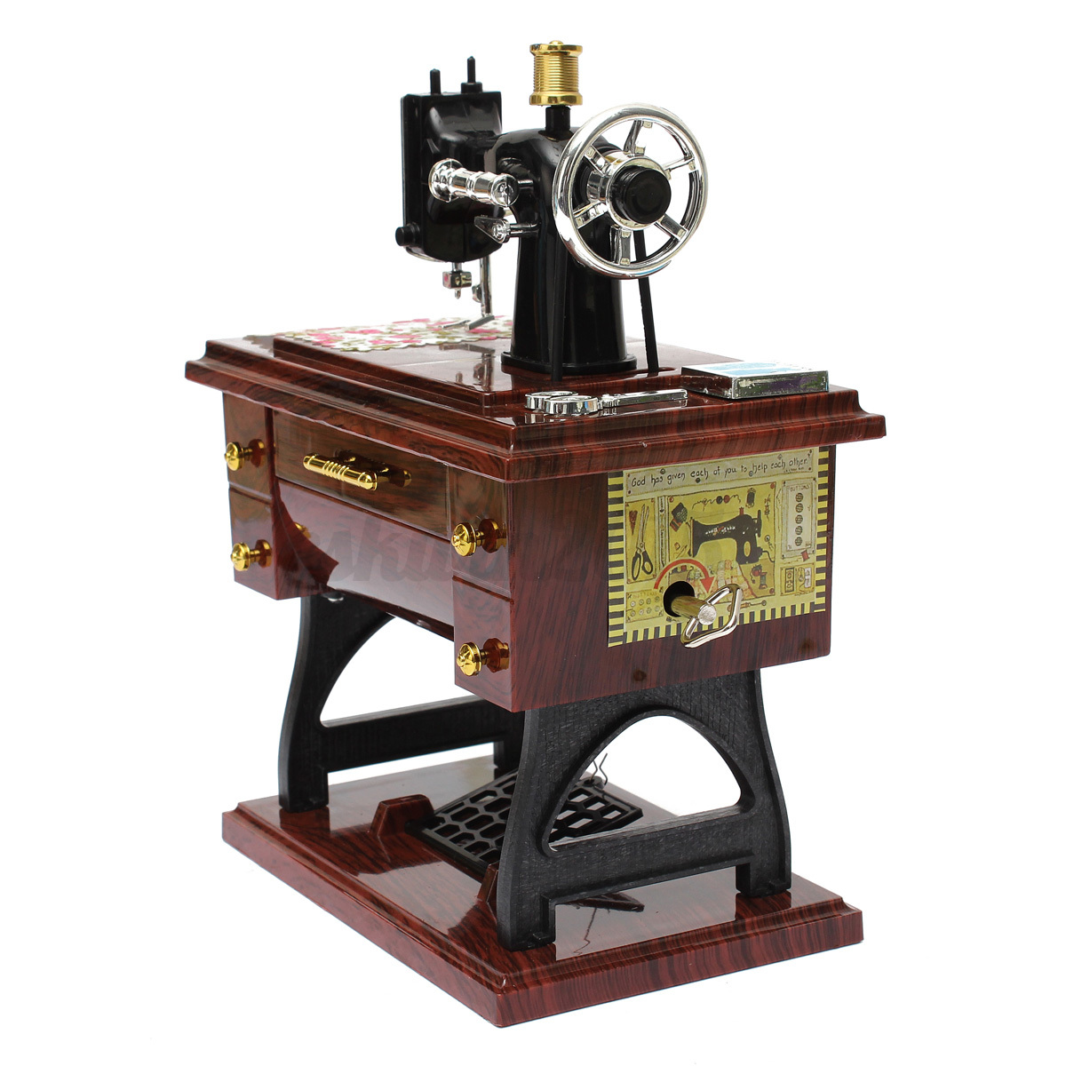 Vintage creative mini sewing machine mechanical music box for Decor 99 sewing machine