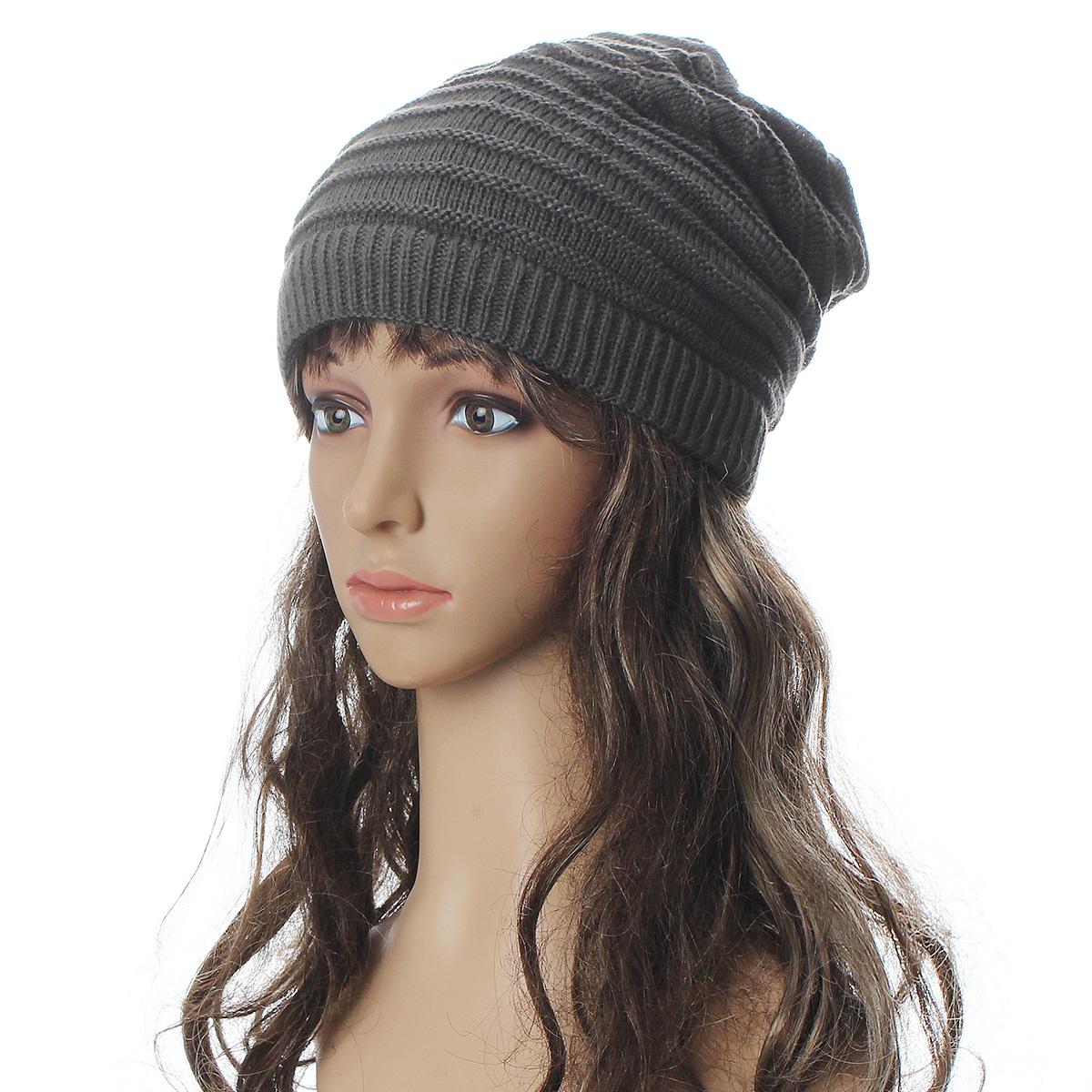 unisex reversible knit winter hat skull ski crochet beanie