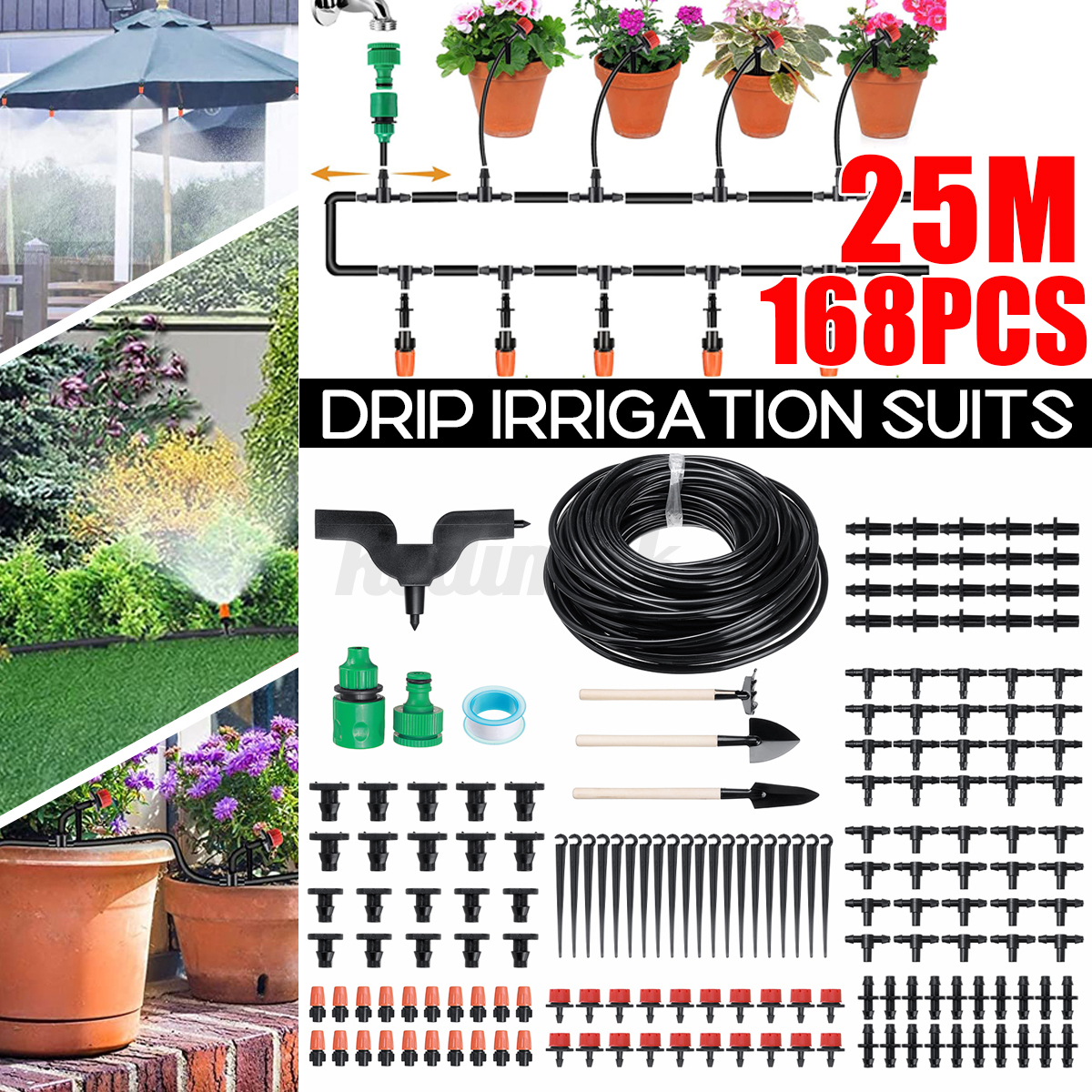 82Ft Hose Garden Irrigation System with Timer Plant Watering