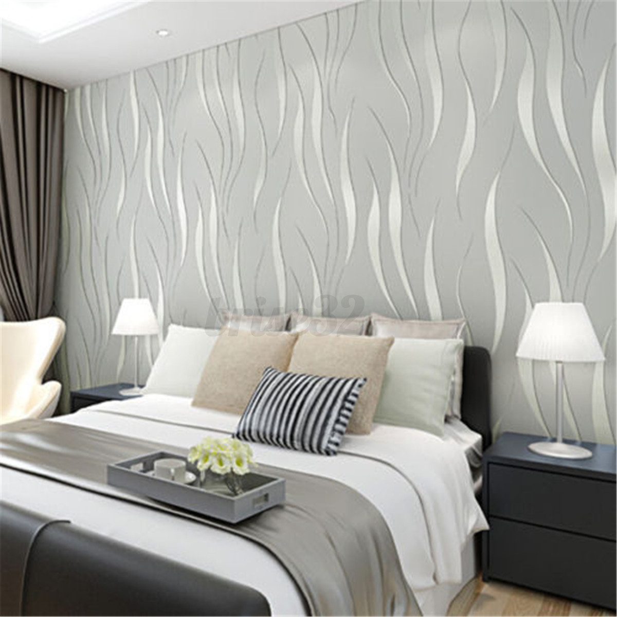 3d modern 10m wall non woven paper bedroom stickers living for Living room paper