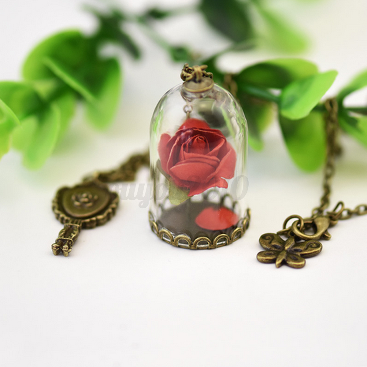 Pretty Beauty And The Beast Enchanted Rose Petal Necklace