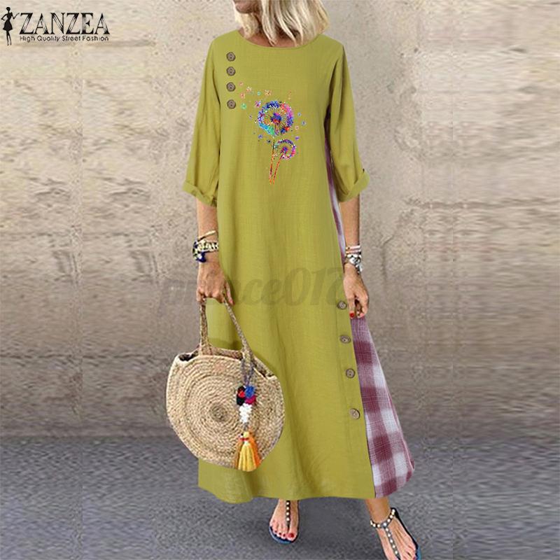 Oversize-Femme-Robe-Manche-Longue-Col-Rond-Couture-Verifier-Loisir-Ample-Dresse miniature 3