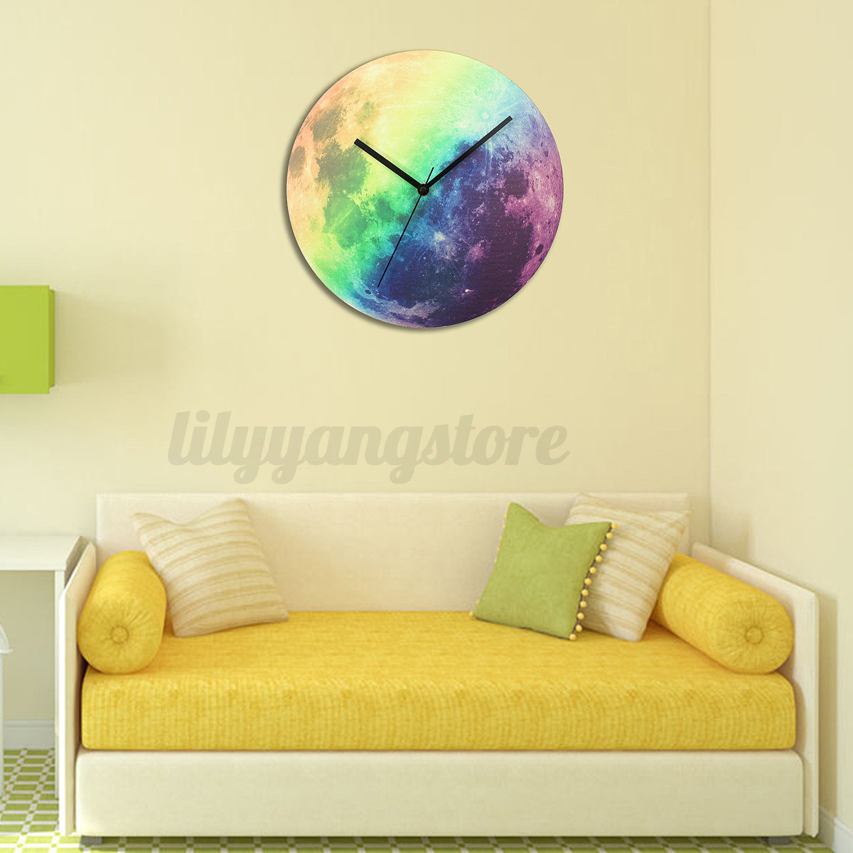 Modern 3D Wall Clock Moon Moonlight Glow In The Dark Luminous ...