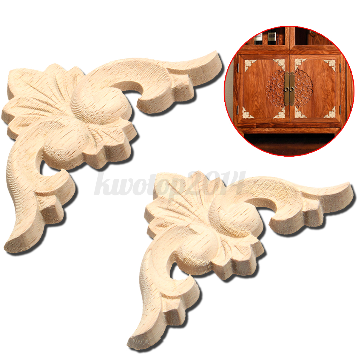 2 4pcs 6cm 8cm wood carved corner furniture onlay applique for Applique furniture decoration