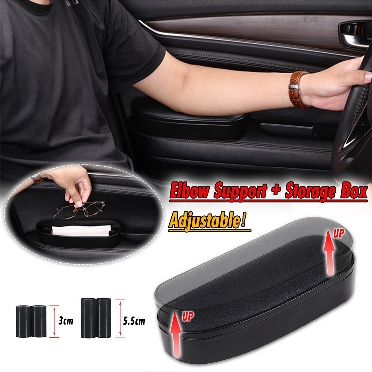 Car Door Adjustable Height Elbow Armrest Support Rest Soft Leather Arm Pad Mat