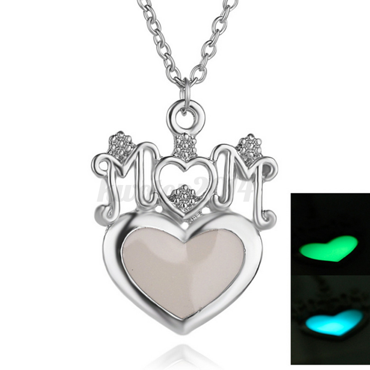 Heart MOM Luminous Necklace Mother's Day Birthday Gift for ...