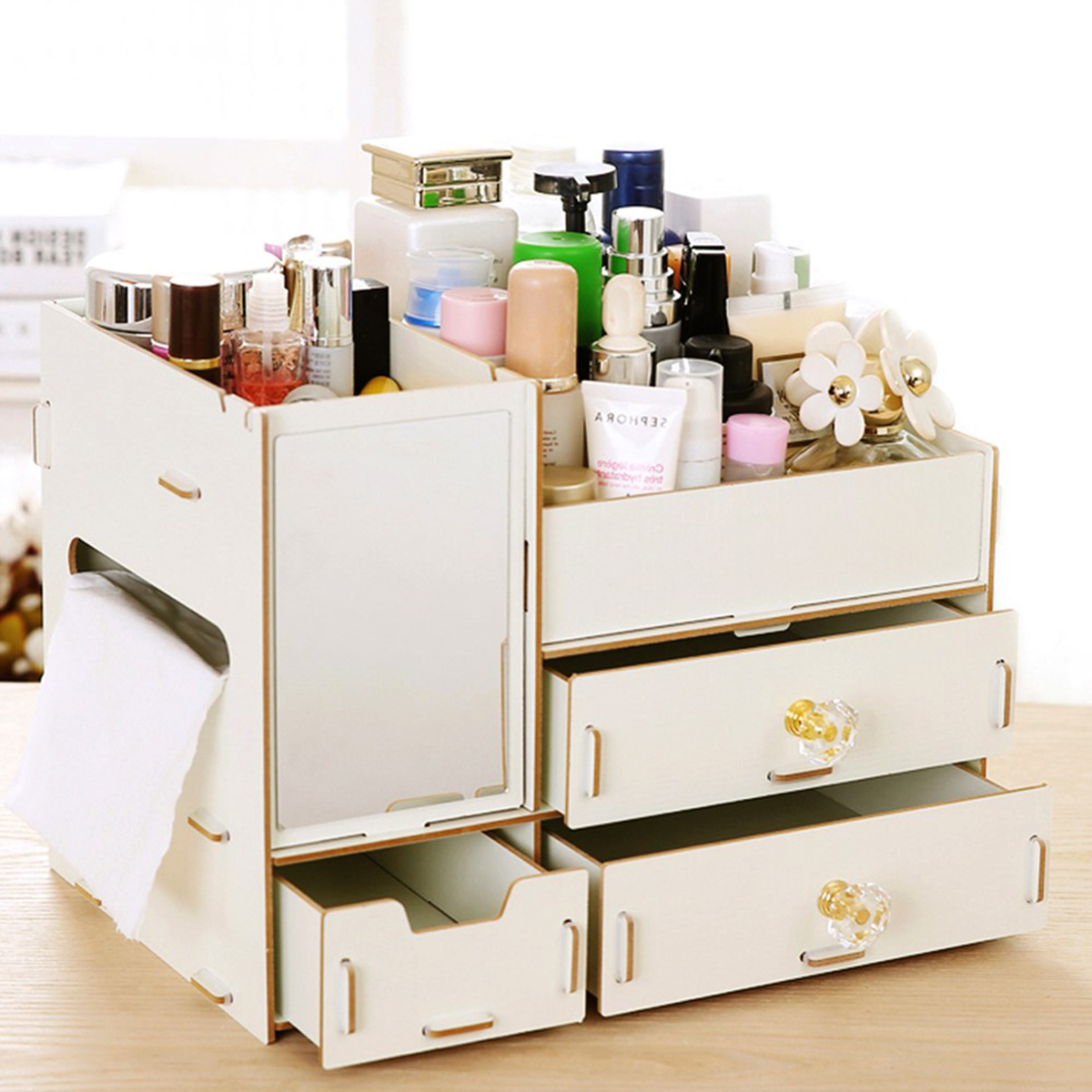 Wooden Makeup Cosmetic Organiser Jewelry Storage Box Case