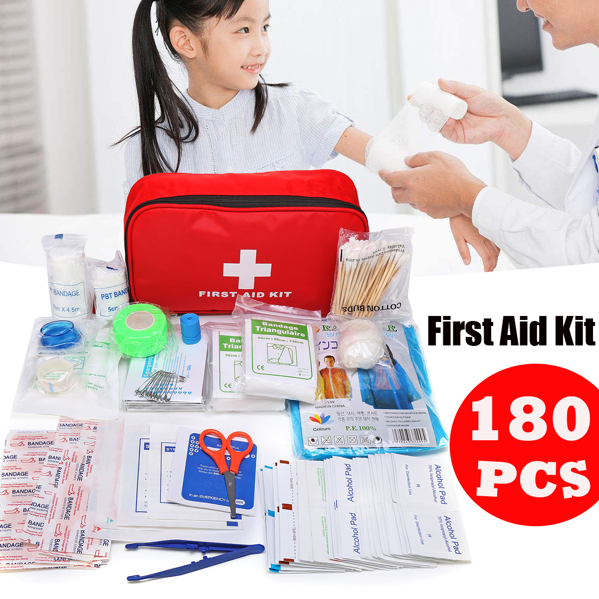 Details about 180 Pieces First Aid Kit - All-Purpose Premium Medical  Supplies & Emergency Bag