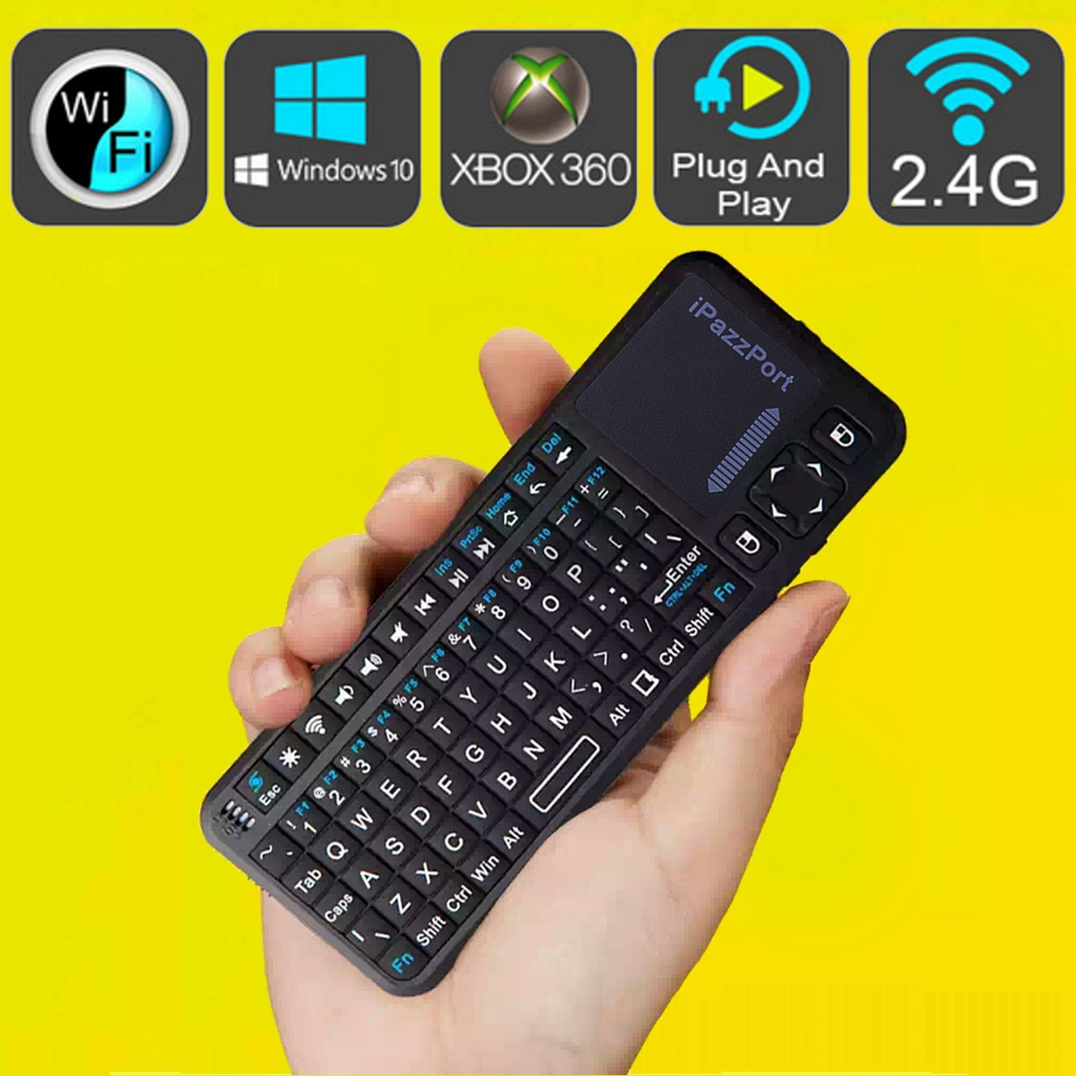 mini ipazzport 2 4g rf wireless handheld keyboard mouse touchpad for pc smart tv ebay. Black Bedroom Furniture Sets. Home Design Ideas