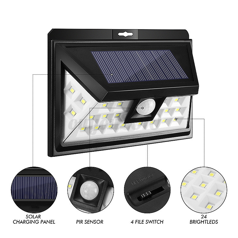 LED Solar Power PIR Motion Sensor Wall Light Outdoor Path Garden Lamp Waterproof eBay
